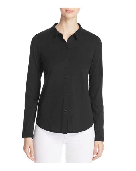 mens knit button shirt eileen fisher cotton knit button shirt in black lyst