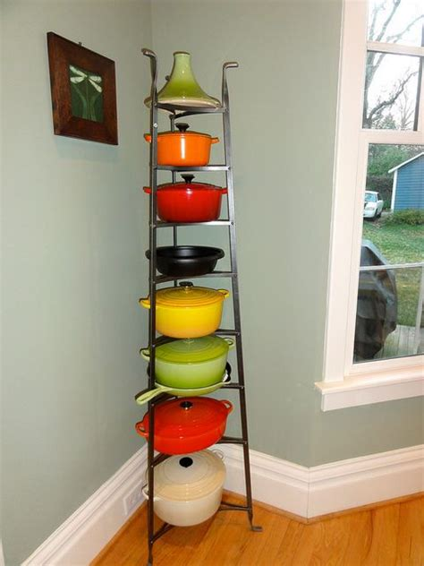 Pot Tower Rack Tower Of Le Creuset Way To Store Display Colorful