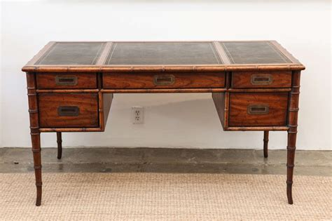 drexel caign bamboo and leather desk at 1stdibs