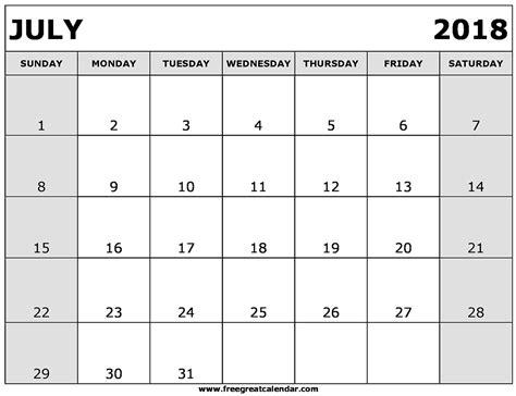 Kalender Juli 2018 Blank July 2018 Calendar Printable