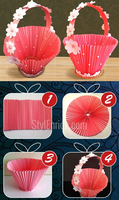 How To Make A Paper Accordion - diy paper basket how to make easy accordion basket for