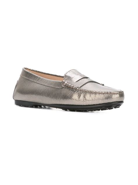 silver loafers tod s metallic loafers in silver metallic lyst