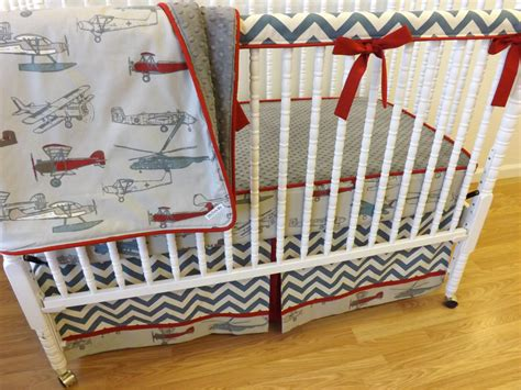 Airplane Crib Bedding Sets Bumperless Airplane Crib Bedding Made To By Littlecharliemay