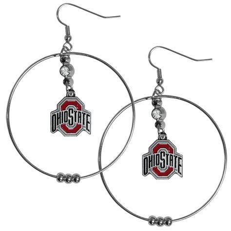 the sports fan zone ohio st buckeyes 2 inch hoop earrings