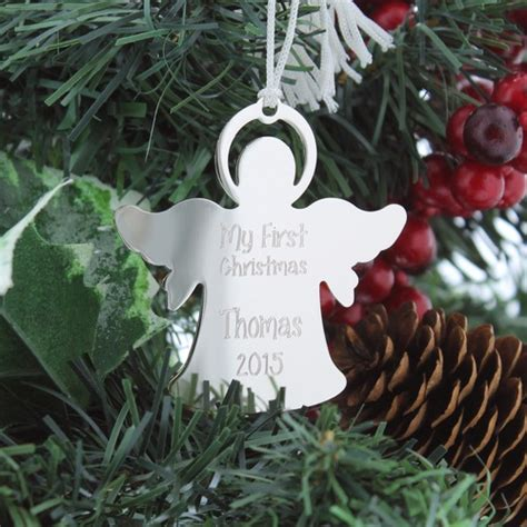 personalized new baby silver angel ornament the catholic