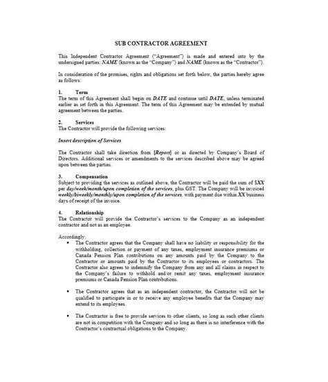 subcontracting contract template need a subcontractor agreement 39 free templates here