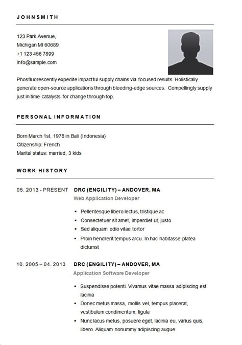 exle of simple resume format easy resume template free health symptoms and cure