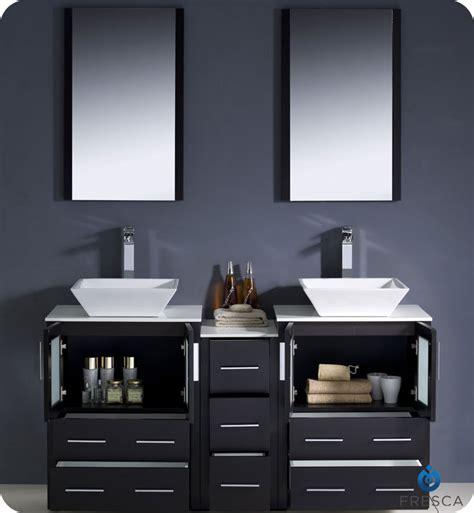 "60"" Fresca Torino (FVN62 241224ES VSL) Modern Double Sink Bathroom Vanity w/ One Side Cabinet"