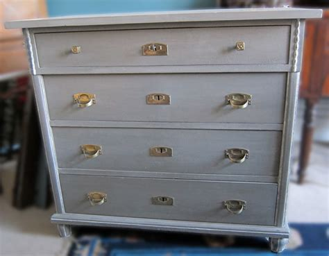 German Grey Painted Pine Chest of Drawers