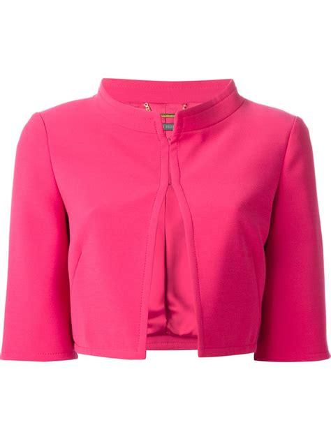 Jaket Pink alberta ferretti cropped jacket in pink pink purple lyst