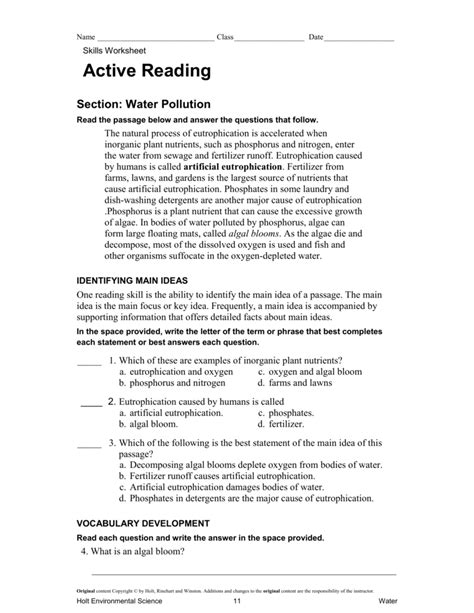 Active Reading Worksheets by Eutrophication Worksheet Defendusinbattleblog