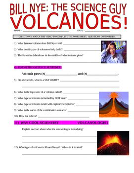 Bill Nye The Science Cells Worksheet by Bill Nye The Science Volcanoes Earth