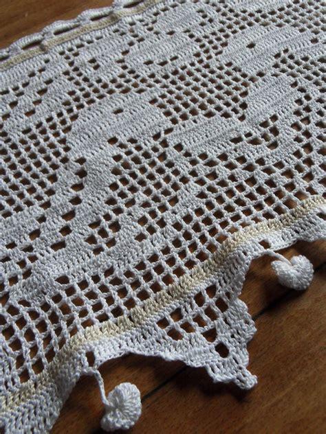 rideau bise au crochet oiseaux coton blanc fa 231 on