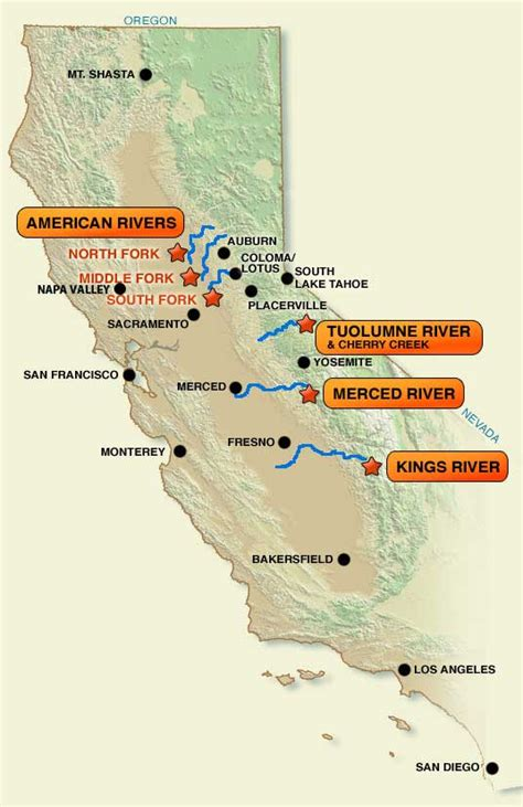 california map of rivers northern california river map images