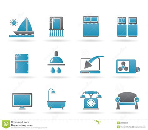 hotel and motel room facilities icons stock photography