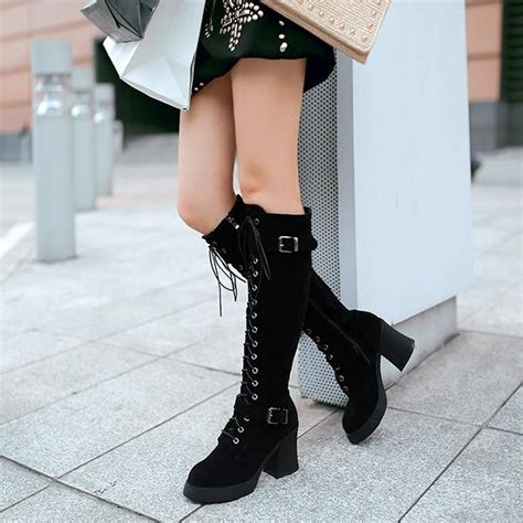 cheap womens motorcycle boots boots lace up knee high boots belt buckle