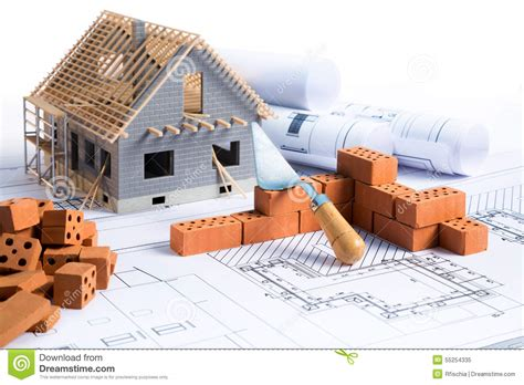 House In Construction   Project Stock Image   Image of