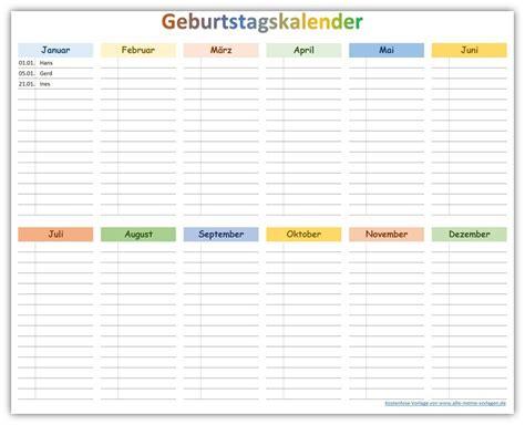 Kostenlose Vorlagen Excel farbiger geburtstagskalender zum ausdrucken als kostenlose