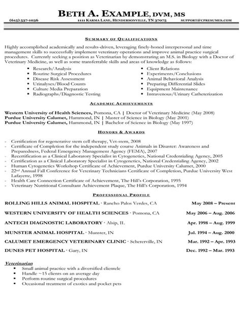 Resume Template Veterinarian by Veterinary Assistant Resume Template Http Topresume