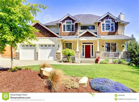 Garage Plans And Prices by Large American Beautiful House With Red Door Stock Photo
