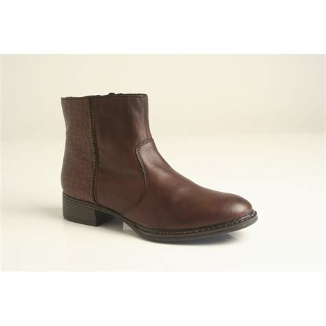 brown leather ankle boots rieker rieker brown leather zip up ankle boot with printed