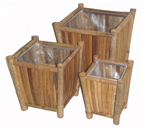 L For Outdoor Use by Bamboo 3 Planters Flower Pot Set Indoor Or Outdoor