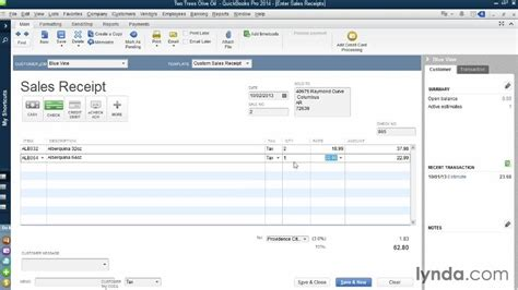 how to change sales receipt template in quickbooks creating sales receipts for sales from the course