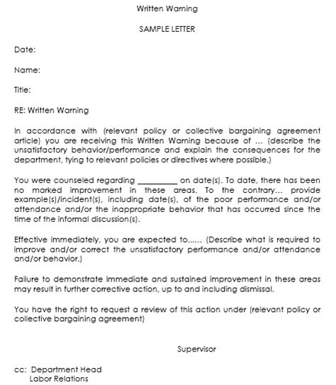 Warning Letter Templates 20 Sle Formats For Hr Warnings Written Warning Template Attendance