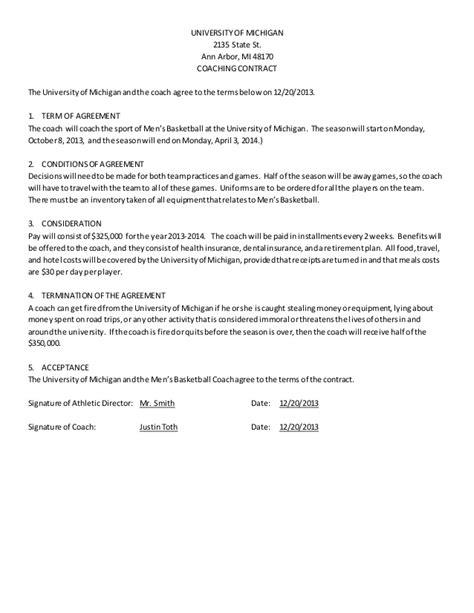 men s basketball coach contract exle