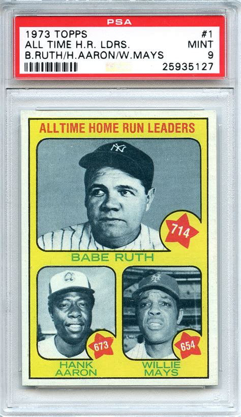 lot detail 1973 topps 1 all time home run leaders ruth