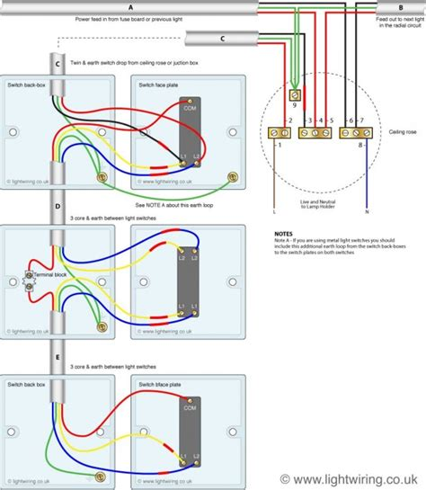 light switching  cable colours light wiring