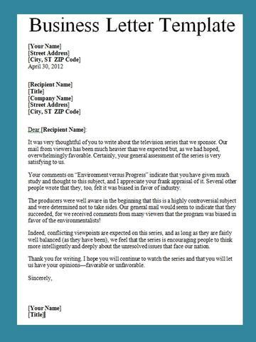 business letter template word project management