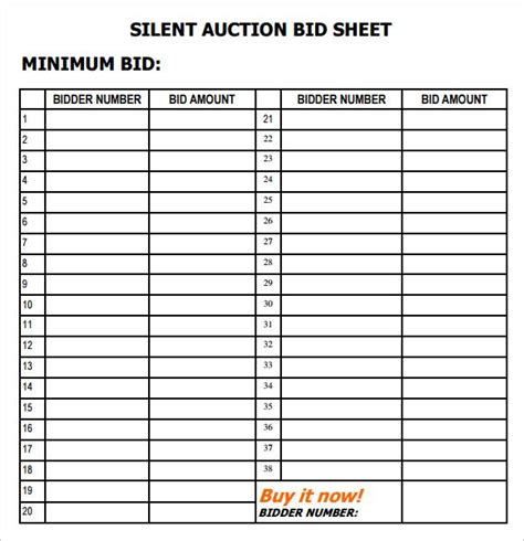 bid auction silent auction bid sheet pdf paul s benefit