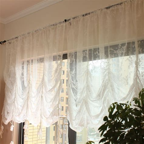 baloon curtains white mesh balloon curtain pastoral living room wiindow