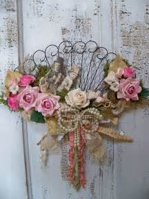 shabby chic victorian fan decorated wall decor ooak anita