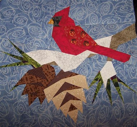 Free Paper Pieced Quilt Blocks by Zoey Quilts Cardinal Paper Pieced Quilt Block Is Finished