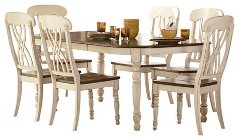 farmhouse 7 piece dining room set in antique walnut homelegance ohana 7 piece dining table set in white warm