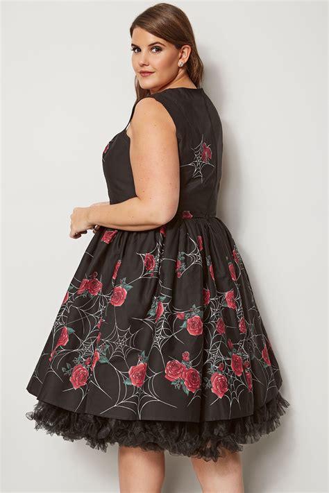 Napoclean Strong By Nry Fashion hell bunny black cobweb print sabrina dress plus