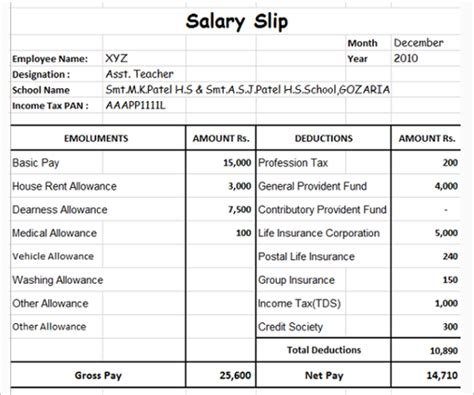 salary slip format free word pdf documents download