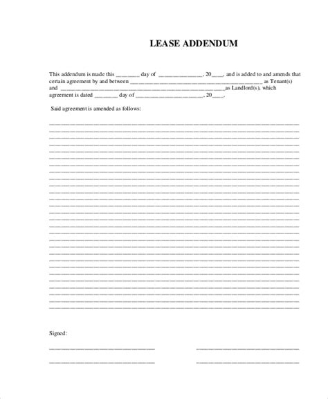 lease addendum form best resumes