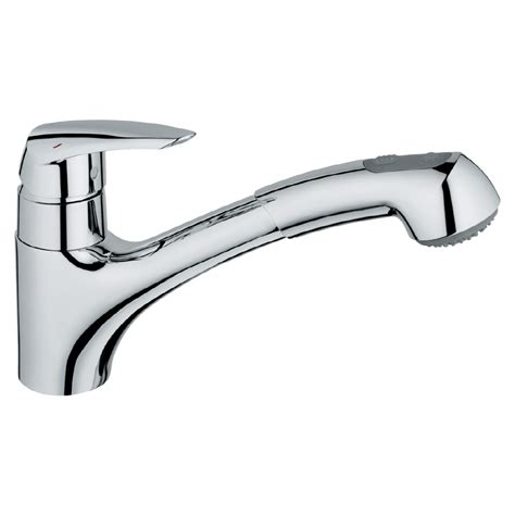 Grohe Pull Out Kitchen Faucet | shop grohe eurodisc chrome pull out kitchen faucet at lowes com