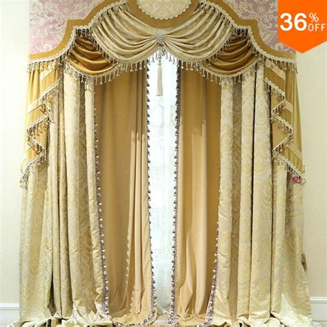 luxury window drapes 2016 golden shutters with valance beads the classical