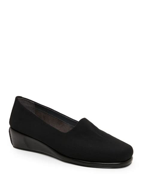 aerosoles black slip on comfort wedge shoes in