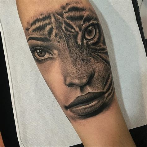 womans portrait amp tiger merged best tattoo design ideas