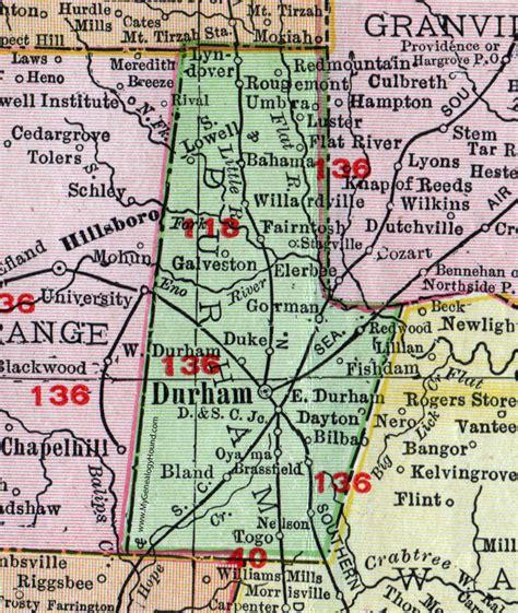 Durham County Records Durham County Carolina 1911 Map Rand Mcnally Rougemont Bahama Bilbao