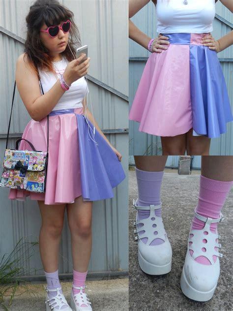 self made split colour pleather skirt