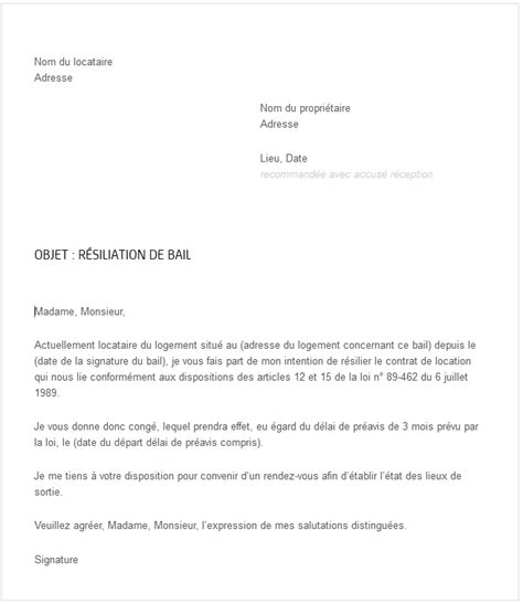 Resiliation Lettre De Bail Courrier R 233 Siliation De Bail Exemple De R 233 Siliation De Bail Locatif Jaoloron