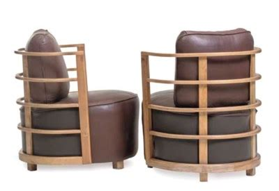 gilbert rohde    pair  bentwood  leather armchairs designed  christies