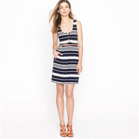 Dress Navy Stripe j crew villa dress in stripe in blue navy lyst