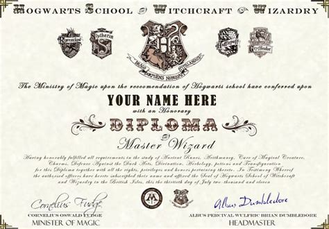 hogwarts certificate template harry potter hogwarts diploma by wizardingwares on etsy 163